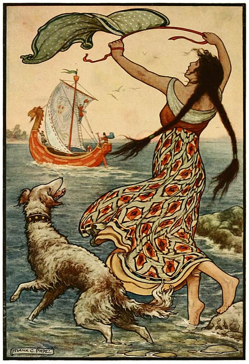 """The black-browed maid stood upon the bank as the red ship sailed away from Novgorod."" Illustration from ""The Russian Story Book"" by Richard Wilson, illustrated by Frank C. Papé, 1916. Public domain."