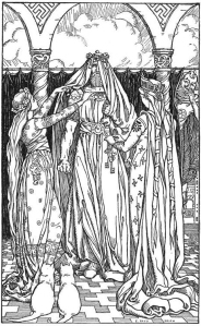Aesir maidens disguise Thor as Freya while Loki laughs