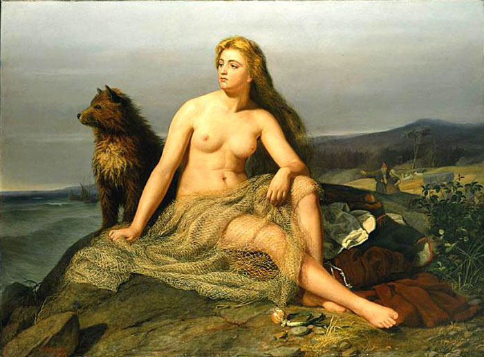 Kråka, daughter of Sigurd (royal name: Aslaug). Painted in 1862 by Mårten Eskil Winge.