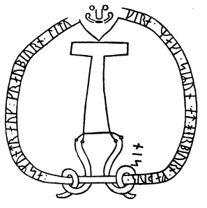 Thunor the Thunderer, carved on the runestone Sö 86, about the year 1000.