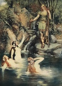 """The three maidens swam close to the shore"" by the German painter Ferdinand Leeke, 1905"
