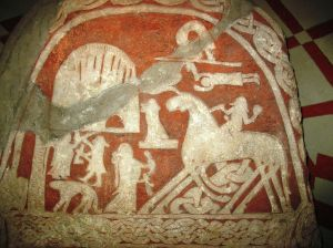 Odin arrives at Valhalla, riding his eight-legged horse, Slepnir