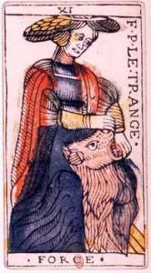 "English: An original card from the tarot deck of Jean Dodal of en:Lyon, a classic ""Marseilles"" deck. The deck dates from 1701-1715. By Fuzzypeg at en.wikipedia [Public domain], from Wikimedia Commons"