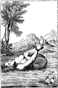 "17th-century engraving, of Trial By Ordeal of Water. If the alleged witch survived, she was guilty. ""That'll teach you to be different from everybody else, young lady!"""