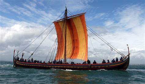 A replica Viking ship that sailed from Roskilde, Denmark, to Dublin, Ireland, in 2007, The Stallion of The Sea.