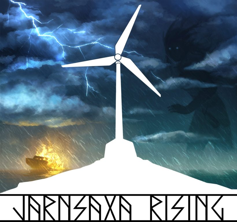 A white wind turbine spins its blades over a small island during a thunderstorm. To the left, a ferryboat burns in the ocean. To the right, a giant shadowy figure emerges from the darkness.