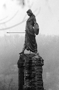 Monumento alla difesa di Casale, 1897 bronze sculpture outside the castle at Casale Monferrato of a young female warrior in Lombard costume